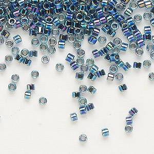 seed bead, delica, glass, color-lined dark blue, (db85), #11 round. sold per 50-gram pkg.