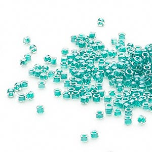seed bead, delica, glass, color-lined dark turquoise blue, (db918), #11 round. sold per 250-gram pkg.