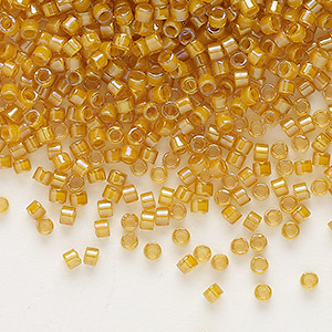 seed bead, delica, glass, color-lined gold, (db272), #11 round. sold per 50-gram pkg.