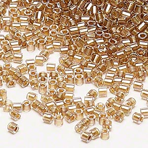 seed bead, delica, glass, color-lined golden rose, (dbl901), #8 round. sold per 7.5-gram pkg.