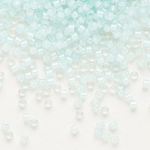 seed bead, delica, glass, color-lined light aqua, (db78), #11 round. sold per 50-gram pkg.