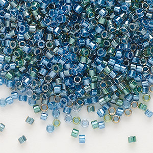 seed bead, delica, glass, color-lined mix green and blue, (db985), #11 round. sold per 7.5-gram pkg.
