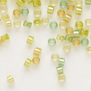 seed bead, delica, glass, color-lined mix lemon and lime, (db983), #11 round. sold per 250-gram pkg.