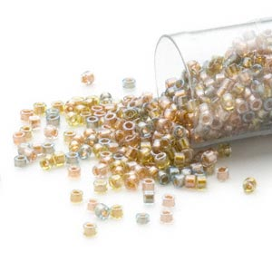 seed bead, delica, glass, color-lined mix metallic, (db981), #11 round. sold per 7.5-gram pkg.