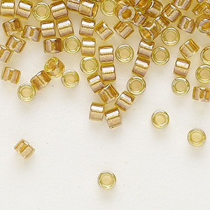 seed bead, delica, glass, color-lined mustard, (db909), #11 round. sold per 7.5-gram pkg.