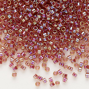 seed bead, delica, glass, color-lined rainbow dark topaz brown, (db88), #11 round. sold per 7.5-gram pkg.