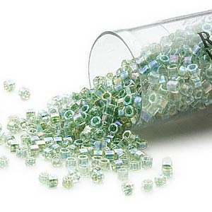 seed bead, delica, glass, color-lined rainbow light lime, (db60cut), #11 cut. sold per 7.5-gram pkg.