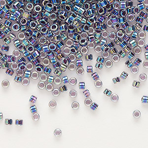 seed bead, delica, glass, color-lined rainbow violet, (db59), #11 round. sold per 250-gram pkg.