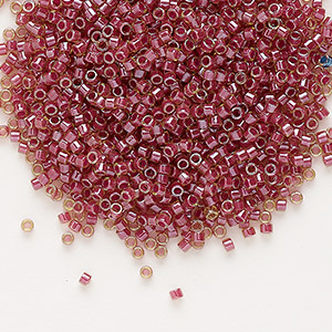 seed bead, delica, glass, color-lined rhubarb, (db283), #11 round. sold per 50-gram pkg.