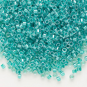 seed bead, delica, glass, color-lined teal green, (db904), #11 round. sold per 50-gram pkg.