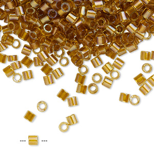 seed bead, delica, glass, color-lined topaz yellow, (dbl0065), #8 round. sold per 7.5-gram pkg.