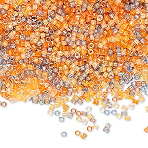 seed bead, delica, glass, mixed transparent luminous colors, (db2062), #11 round. sold per 50-gram pkg.
