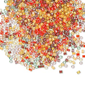 seed bead, delica, glass, mixed transparent luminous colors, (db2063), #11 round. sold per 50-gram pkg.