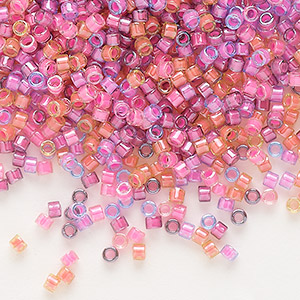 seed bead, delica, glass, mixed transparent luminous colors, (db2064), #11 round. sold per 7.5-gram pkg.