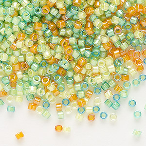 seed bead, delica, glass, mixed transparent luminous colors, (db2066), #11 round. sold per 7.5-gram pkg.
