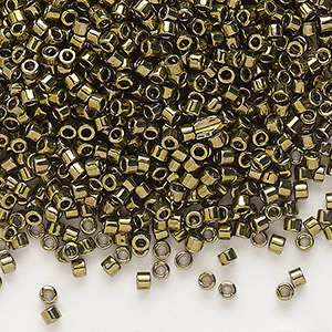 seed bead, delica, glass, nickel-finished olive, (db456), #11 round. sold per 50-gram pkg.
