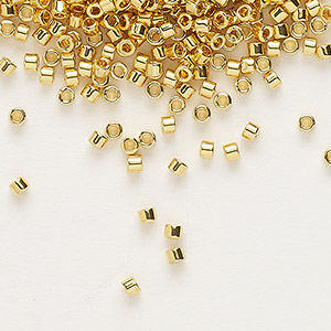 seed bead, delica, glass, opaque bright 24kt gold-finished, (db31), #11 round. sold per 4-gram pkg.