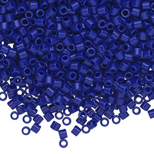 seed bead, delica, glass, opaque cobalt blue, (dbl726), #8 round, 1.5mm hole. sold per 7.5-gram pkg.