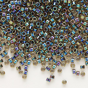 seed bead, delica, glass, opaque color-lined rainbow olive, (db89), #11 round. sold per 50-gram pkg.