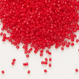 seed bead, delica, glass, opaque dark red, (db723), #11 round. sold per pkg of 250 grams.
