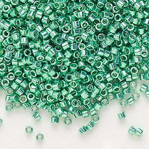 seed bead, delica, glass, opaque galvanized dark mint green, (db426), #11 round. sold per 7.5-gram pkg.