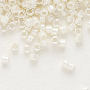 seed bead, delica, glass, opaque glazed luster light yellow, (db0203), #11 round. sold per 50-gram pkg.
