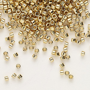 seed bead, delica, glass, opaque light 24kt gold-finished, (db34), #11 round. sold per 50-gram pkg.