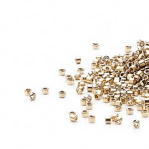 seed bead, delica, glass, opaque light 24kt gold-finished, (db34cut), #11 cut. sold per 50-gram pkg.