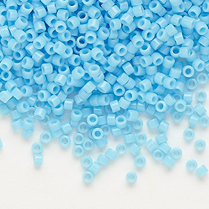 seed bead, delica, glass, opaque light blue, (db725), #11 round. sold per 7.5-gram pkg.