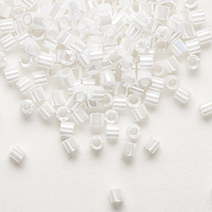 seed bead, delica, glass, opaque luster pearl, (dbl201), #8 round. sold per 7.5-gram pkg.