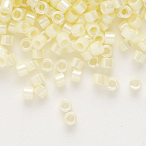 seed bead, delica, glass, opaque luster yellow, (db1531), #11 round. sold per pkg of 250 grams.