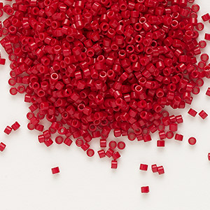 seed bead, delica, glass, opaque matte candy apple red, (db791), #11 round. sold per 50-gram pkg.