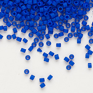 seed bead, delica, glass, opaque matte cobalt blue, (db756), #11 round. sold per pkg of 250 grams.