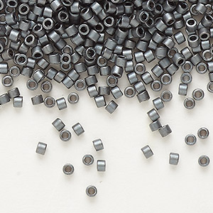 seed bead, delica, glass, opaque matte glazed luster dark grey, (db0306), #11 round. sold per 50-gram pkg.