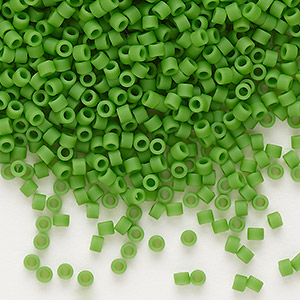 seed bead, delica, glass, opaque matte green, (db754), #11 round. sold per 7.5-gram pkg.