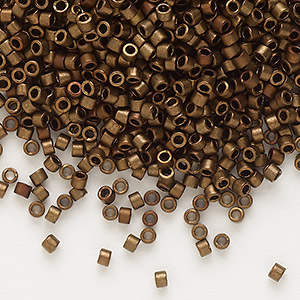 seed bead, delica, glass, opaque matte metallic luster bronze, (db1051), #11 round. sold per 50-gram pkg.
