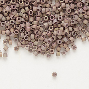 seed bead, delica, glass, opaque matte metallic luster rainbow rose, (db1061), #11 round. sold per 7.5-gram pkg.