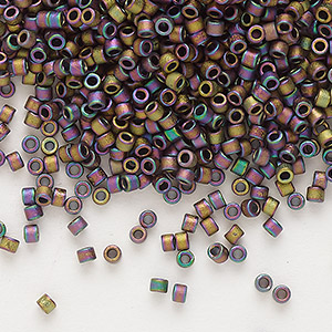 seed bead, delica, glass, opaque matte metallic luster rainbow soft gold, (db1056), #11 round. sold per pkg of 250 grams.