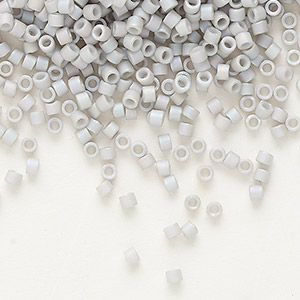 seed bead, delica, glass, opaque matte rainbow pale grey, (db1528), #11 round. sold per 7.5-gram pkg.