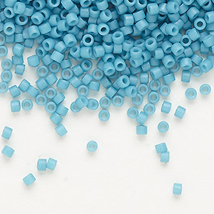 seed bead, delica, glass, opaque matte royal blue, (db798), #11 round. sold per 7.5-gram pkg.
