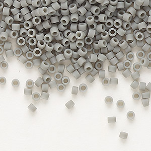 seed bead, delica, glass, opaque matte steel grey, (db761), #11 round. sold per 7.5-gram pkg.