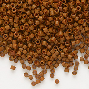 seed bead, delica, glass, opaque matte tree bark brown, (db794), #11 round. sold per 7.5-gram pkg.