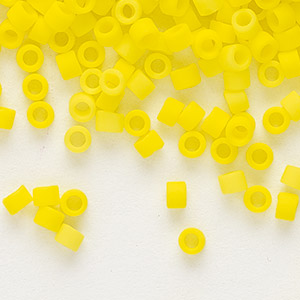 seed bead, delica, glass, opaque matte yellow, (db751), #11 round. sold per 50-gram pkg.