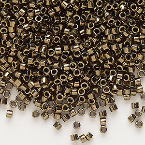 seed bead, delica, glass, opaque metallic bronze, (db22), #11 round. sold per 7.5-gram pkg.