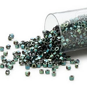 seed bead, delica, glass, opaque metallic luster forest green, (db27cut), #11 cut. sold per 50-gram pkg.