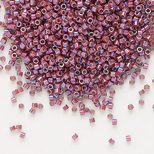 seed bead, delica, glass, opaque metallic luster rainbow cherry, (db1015), #11 round. sold per 50-gram pkg.