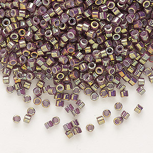 seed bead, delica, glass, opaque metallic luster rainbow lavender, (db1011), #11 round. sold per 50-gram pkg.
