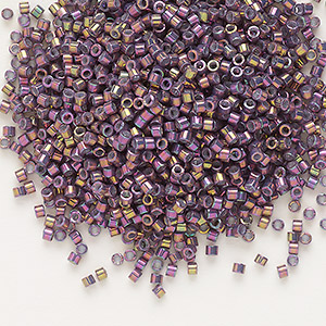 seed bead, delica, glass, opaque metallic luster rainbow rhubarb, (db1014), #11 round. sold per 7.5-gram pkg.