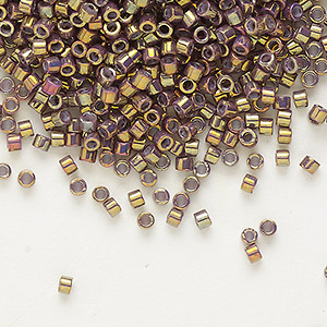 seed bead, delica, glass, opaque metallic luster rainbow rose, (db1010), #11 round. sold per 7.5-gram pkg.