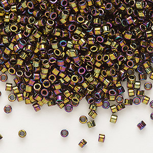seed bead, delica, glass, opaque metallic rainbow bronze, (db23), #11 round. sold per 50-gram pkg.
